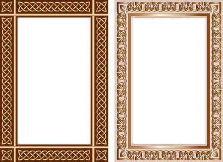 Set of decorative frames in traditional celtic style. Celtic knots, borders with celtic ornament. Vector illustration Çizim