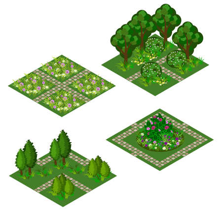 Garden isometric tile set. Asset for design garden landscape scenes with trees, bushes, flowers, grass and walks. Use as cartoon or game isometric asset vector illustration, isolated tiles.