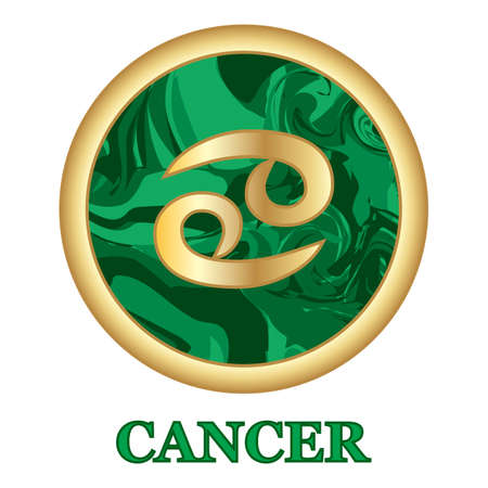 Cancer Zodiac sign icon isolated. Astrology and horoscope graphic design element. Golden symbol on malachite green background. Vector illustration