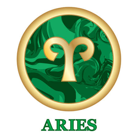 Aries Zodiac sign icon isolated. Astrology and horoscope graphic design element. Golden symbol on malachite green background. Vector illustration