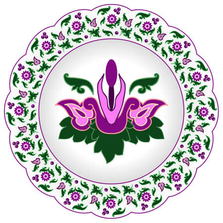 Decorative porcelain plate ornate in traditional oriental Indian style with exotic colorful flowers.