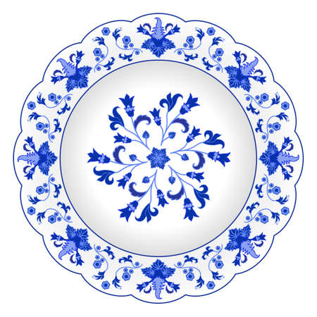 #97738188 - Decorative porcelain plate ornate in traditional Russian style Gzhel. Isolated white plate with blue floral pattern. Vector illustration  sc 1 st  123RF.com : traditional russian tableware - pezcame.com