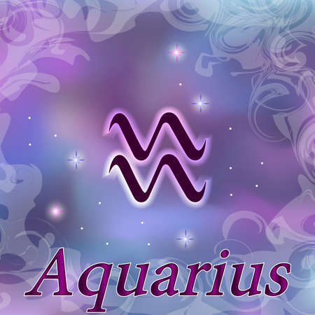 Aquarius Zodiac sign on watercolor cosmic celestial background. Cosmos. stars and zodiacal sign. Astrology and horoscope design element. Vector illustration