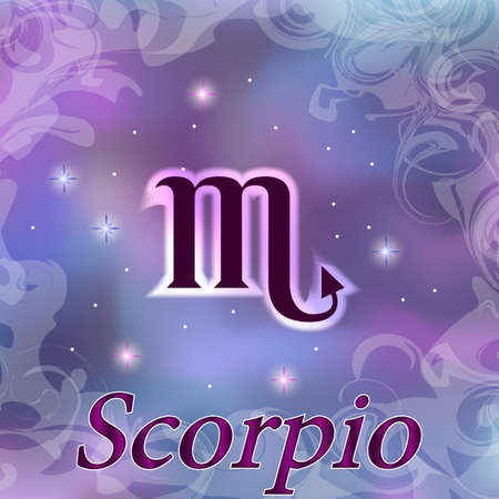 Scorpio Zodiac sign on watercolor cosmic celestial background. Cosmos. stars and zodiacal sign. Astrology and horoscope design element. Vector illustration Ilustracja