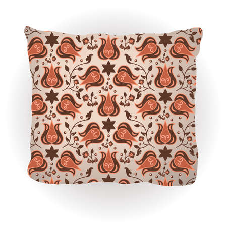 Throw pillow isolated for home interior design. Decorated with traditional floral ornament in oriental style. Vector illustration Illustration
