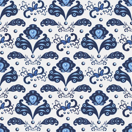 Seamless pattern in traditional Russian Gzhel style, blue ornament with exotic flowers and leaves. Use as backgrounds, wallpapers, fabric and textile design. Vector illustration, seamless pattern