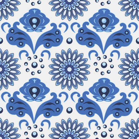 Seamless pattern in traditional Russian Gzhel style, blue ornament with exotic flowers and leaves. Use as backgrounds, wallpapers, fabric and textile design.  Vector illustration, seamless pattern Çizim