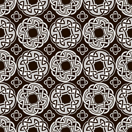 Seamless geometric pattern based on traditional ornament elements with Celtic knots. Black and white color. Vector illustration