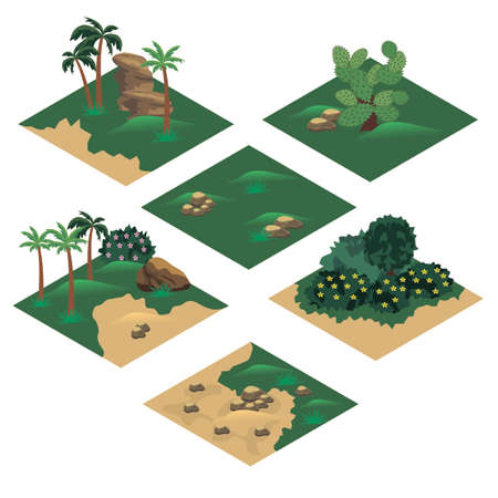 Beach landscape isometric tile set. Cartoon or game asset to create landscape scene and background with sand beach, palms, green hills, rocks. Isolated isometric tiles, vector illustration Vector Illustration