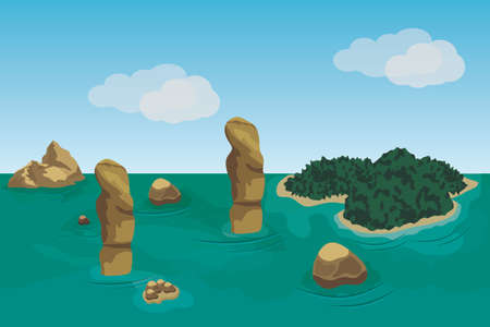 Sea landscape scene background to use in game or cartoon asset. Ocean, islands, rocks and green forests. Vector illustration