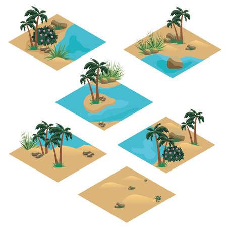 Desert landscape isometric tile set. Cartoon or game asset to create desert scene or background with sand dunes, oasis in desert, palms, rocks and stones. Isolated isometric tiles, vector illustration