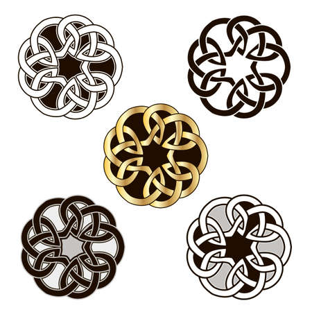 Set of vintage icons of traditional celtic style ornament. Isolated vignettes with classic celtic knots, black and white. Vector illustration  イラスト・ベクター素材