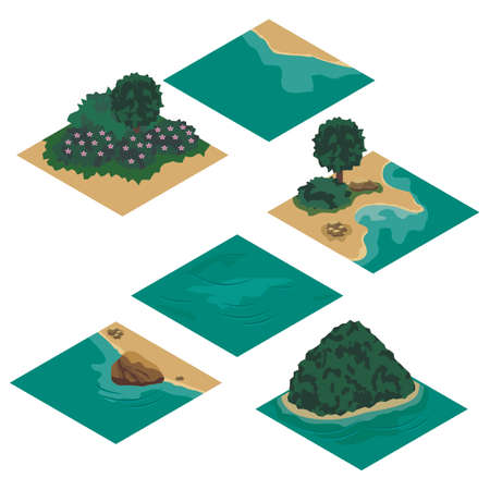 Beach landscape isometric tile set. Cartoon or game asset to create landscape scene and background with sea coast, sand beach, rocks and trees. Isolated isometric tiles, vector illustration