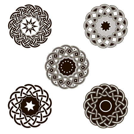 Set of vintage icons of traditional celtic style ornament. Isolated vignettes with classic celtic knots, black and white. Vector illustration Illustration