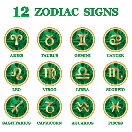 Set of Zodiac sign icons isolated. Astrology and horoscope design elements. Golden symbol on malachite green background. Vector illustration