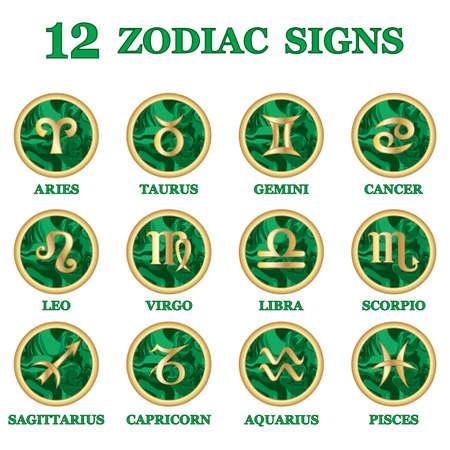 Set of Zodiac sign icons isolated. Astrology and horoscope design elements. Golden symbol on malachite green background. Vector illustration