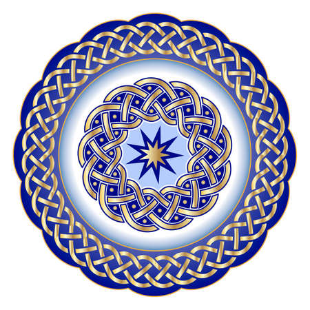 Assiette décorative en porcelaine pour élément de table orné de motifs géométriques dorés dans un style celtique traditionnel. Bordure celtique, ornement géométrique. Illustration vectorielle, objet isolé Vecteurs