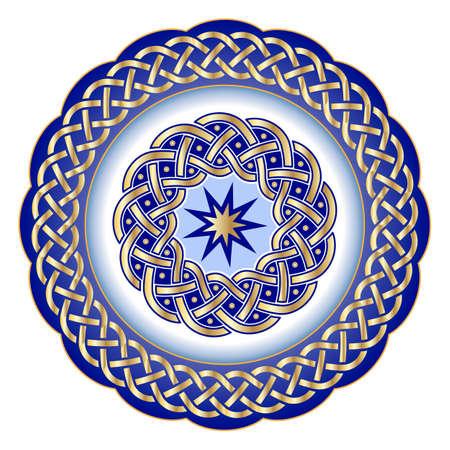 Plato decorativo de porcelana para activo de mesa adornado con patrón geométrico dorado en estilo celta tradicional. Borde celta, ornamento geométrico. Ilustración vectorial, objeto aislado Ilustración de vector
