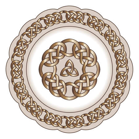 Decorative porcelain plate for table asset ornate with pattern in traditional Celtic style. Celtic knots, Celtic borders, Celtic ornament. Isolated object, vector illustration