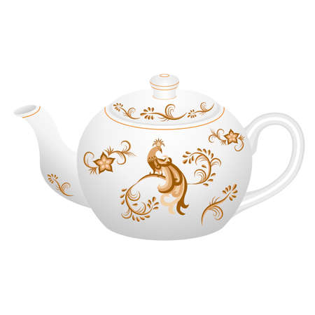 Decorative porcelain teapot for tea set ornate with golden vintage pattern in oriental style with traditional fairy tale character - magic firebird. Vector illustration, isolated object