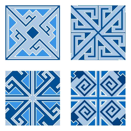 Conjunto de patrones de baldosas de cerámica. Adornos geométricos, patrones sin fisuras, uso para acabados de pisos o paredes en el diseño de interiores de casas. Ilustración vectorial