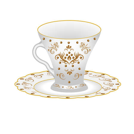 Decorative porcelain tea party set, cup and saucer, ornate with oriental vintage pattern. Isolated white cup painted with golden floral ornament. Vector illustration