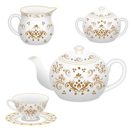 Set da tavola decorativo in porcellana per tea party decorato con motivi floreali vintage dorati in stile tradizionale orientale. Teiera isolata, tazza di tè, brocca di latte e zuccheriera. Illustrazione vettoriale