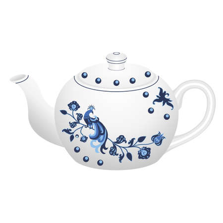 Porcelain teapot for tea set ornate in traditional Russian style Gzhel with oriental vintage pattern.  Isolated white teapot with blue ornament and traditional exotic bird. Vector illustration. Stock Illustratie
