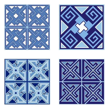 Conjunto de patrones de baldosas de cerámica. Adornos geométricos, patrones sin fisuras, uso para acabados de pisos o paredes en el diseño de interiores de casas. Ilustración vectorial Ilustración de vector