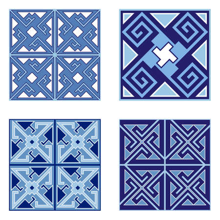 Set of ceramic tile patterns. Geometric ornament, seamless patterns, use for floor or wall finishes in home interior design. Vector illustration Vektorové ilustrace