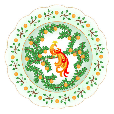 Decorative porcelain plate ornate with a colorful oriental style pattern with a traditional exotic bird, leaves and oranges. Isolated object, vector illustration