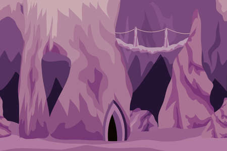 Underground cave landscape. Background for cartoon or adventure fantasy game asset for level design. Underground city of dark elves or gnomes, mysterious night cave realm. Vector illustration  イラスト・ベクター素材
