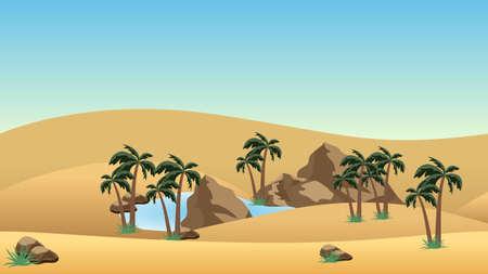 Fondo del paesaggio del deserto con l'oasi. Dune di sabbia, lago e palme in oasi, rocce. Fondo del bene del gioco di avventura o del fumetto. Illustrazione vettoriale