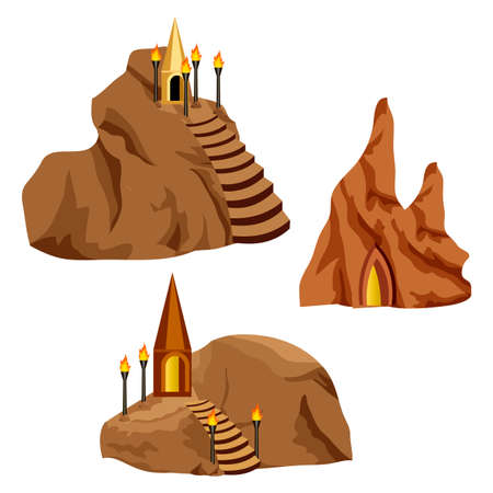 Isolated set of game design elements for cartoon or fantasy game asset in cave landscape environment. Houses on rocks for underground cave city of dark elves or gnomes. Vector illustration Çizim