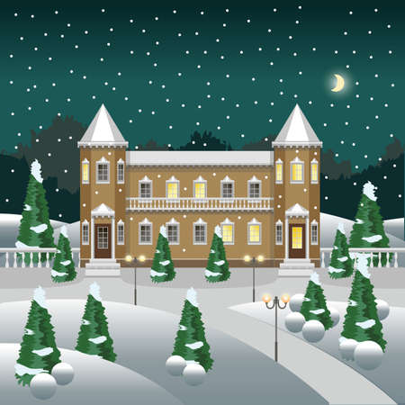 Cartoon winter landscape with snow and trees. Use for cartoon or game asset background. Vector illustration