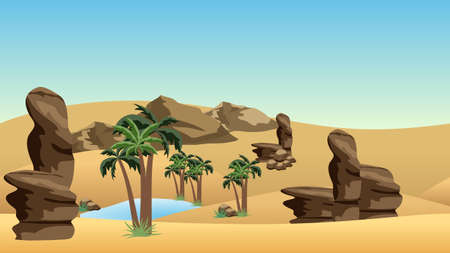 Desert landscape background with oasis. Sand dunes, lake and palms in oasis, rocks.  Cartoon or adventure game asset background. Vector illustration Ilustração