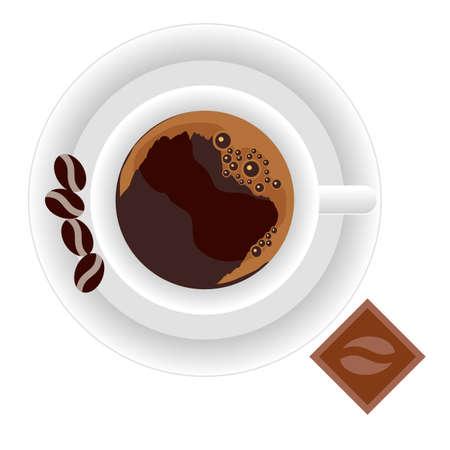 Juego de café. Taza de café expreso, plato, granos de café, chocolate. Ilustración vectorial.