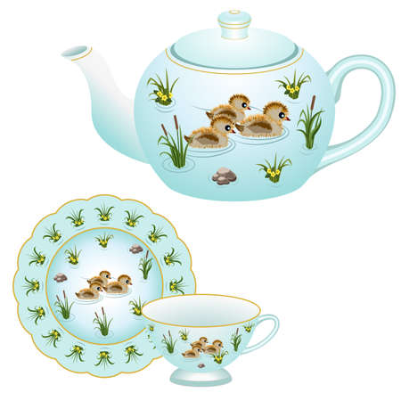 Tea party set - teapot, tea cup and plate. Decorative porcelain, ornate with tender colorful pattern with ducks and grass in a pond. Vector illustration
