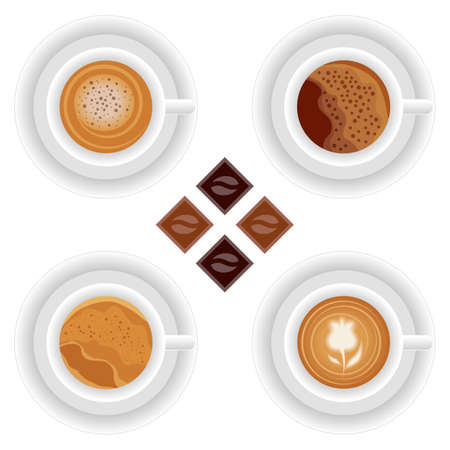 Coffee table set. Coffee cups, chocolates. Cappuccino, espresso. Vector illustration