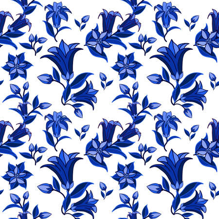 Decorative seamless pattern in traditional Russian Gzhel style. Floral ornament, blue on white with bell flowers and leaves. Vector illustration Illustration
