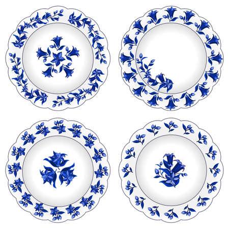Set dekorativer Porzellanteller verziert mit traditionellem blauem Blumenmuster im russischen Gzhel-Stil. Blumenmuster, Blumen und Blätter, blau auf weiß. Isolierte Objekte, Vektorillustration