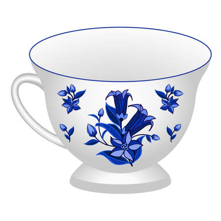 Porcelain tea cup decorated in traditional Russian style Gzhel. Isolated tea cup with floral pattern blue on white. Vector illustration Vettoriali