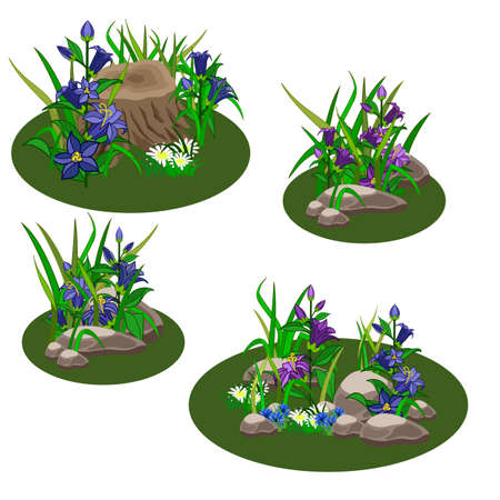Set of summer landscape elements to create garden or forest scene for game asset or cartoon. Bell-flowers, grass, stubs, cornflowers, chamomiles. Vector illustration, isolated elements. Illustration