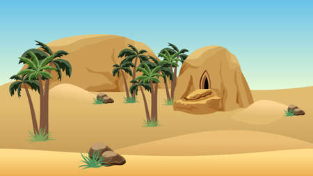 Desert landscape scene for cartoon or game background. Forgotten desert city in sandy rocks for game asset or level location. Sand dunes, mountains, palms. Vector illustration.