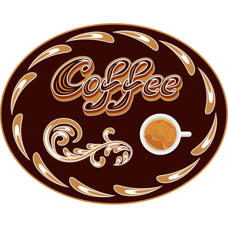 Vector Coffee icon or logo for cafeteria or coffee menu design. Emblem with coffee handwriting lettering, coffee cup and decoration in vintage style. Vector illustration
