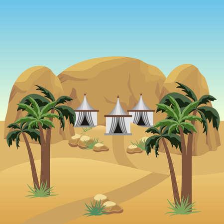 Camp de nomades dans le désert. Paysage pour atout de dessin animé ou de jeu d'aventure. Tentes bédouines, dunes de sable, palmiers, rochers. Illustration vectorielle