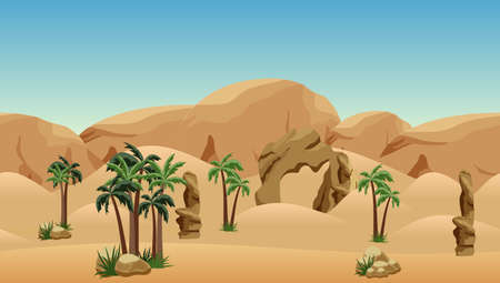 Desert landscape background. Scene for cartoon, game asset or wallpapers. Parallax ready with some layers. Sand dunes, mountains and rocks, palms. Vector illustration.