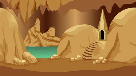 Underground cave landscape scene. Rock city of gnomes, dwarves or dark elves for cartoon or adventure fantasy game asset. Vector illustration