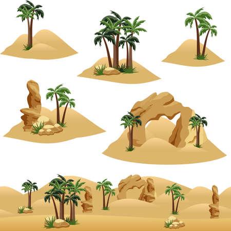 Set di elementi per progettare scene o sfondo di paesaggi desertici. Palme nel deserto, antiche rovine e rocce. Risorsa del fumetto o del gioco. Elementi isolati, illustrazione vettoriale