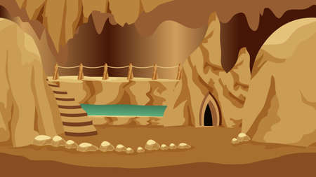 Background for cartoon or fantasy game asset. Underground realm of gnomes or dark elves. Cave landscape with rock house, stones and underground lake. Vector illustration Иллюстрация